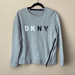DKNY grey pullover sweater with zipper detail